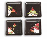 Evergreen Enterprises Square Appetizer Plates Snowbird (1 set = 4 plates)