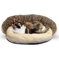 Plush Bolster Sleeper Pet Bed - Leopard