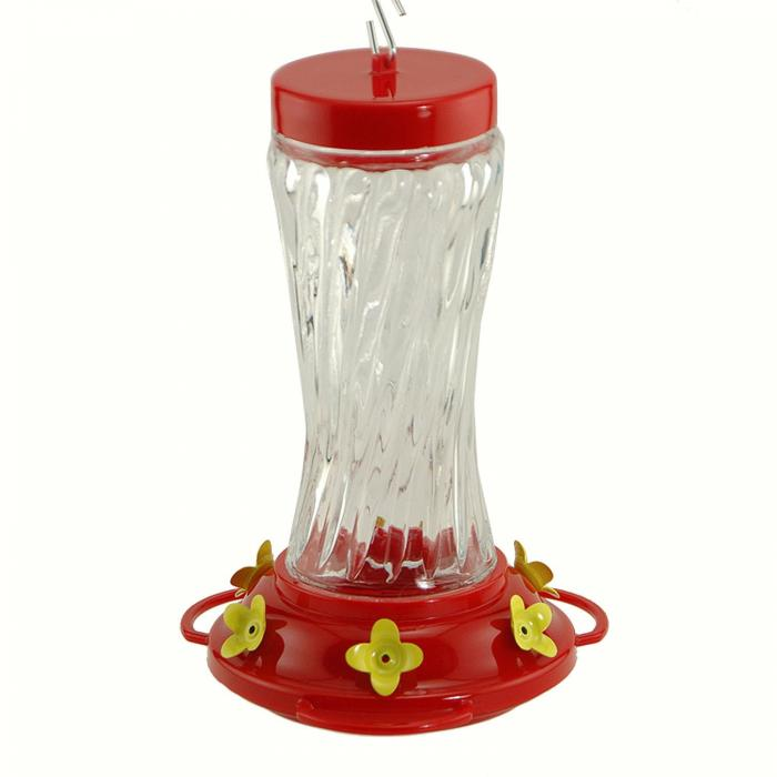 Woodlink Audubon Series 16 Ounce Swirl Glass Hummingbird Bird Feeder