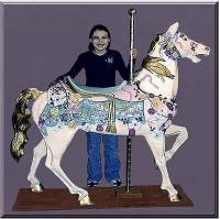Elegant Stander Mauve/Seafoam Carousel Horse