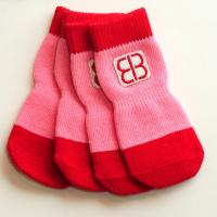 Petego Traction Control Indoor Socks for Dogs, Red/Pink, XX-Large, Set of 4