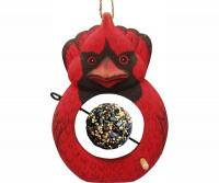 Bobbo Cardinal with Food Skewer Feed Ball Suet Feeder