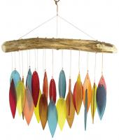 Blue HandWorks Santa Fe Colors Leaves & Driftwood Glass Chime