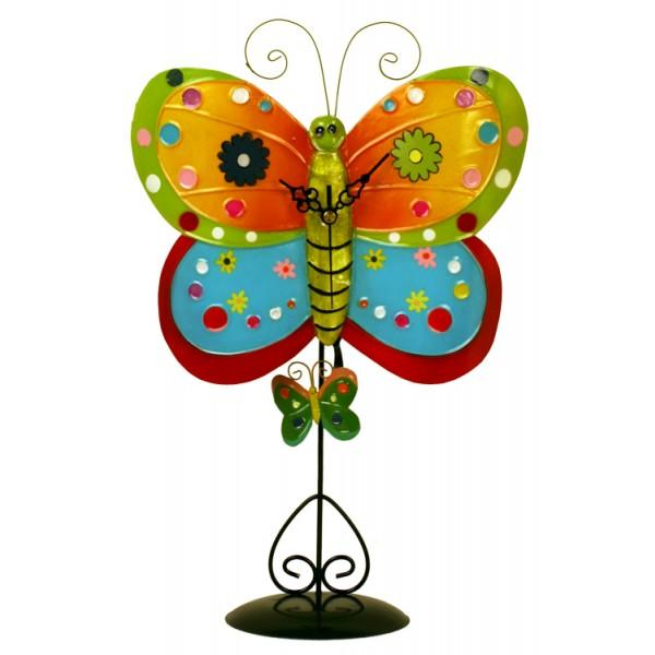 Metal Multicolor Butterfly Clock with Removable Stand