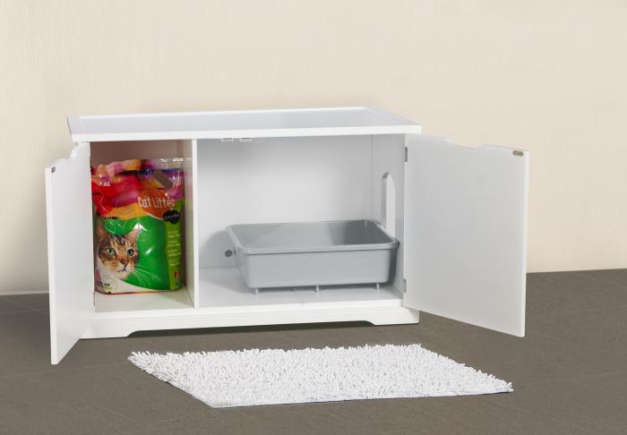 Merry Products Cat Washroom Bench - MDF with White Paint Finish