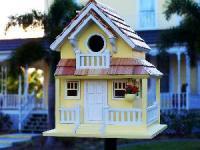 Home Bazaar Birds of a Feather Series Backyard Bird Cottage (Yellow)