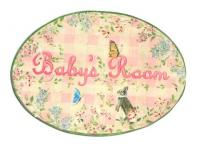 Oval Room Plaque With Ribbon- Babies Room