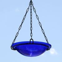 achla cobalt blue crackle hanging birdbath