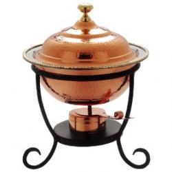 "Old Dutch 12"" x 15"" Round Decor Copper Chafing Dish 3 Qt"