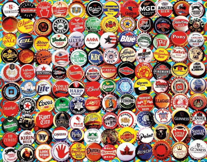 White Mountain Puzzles Beer Caps Puzzle, 550 pcs.