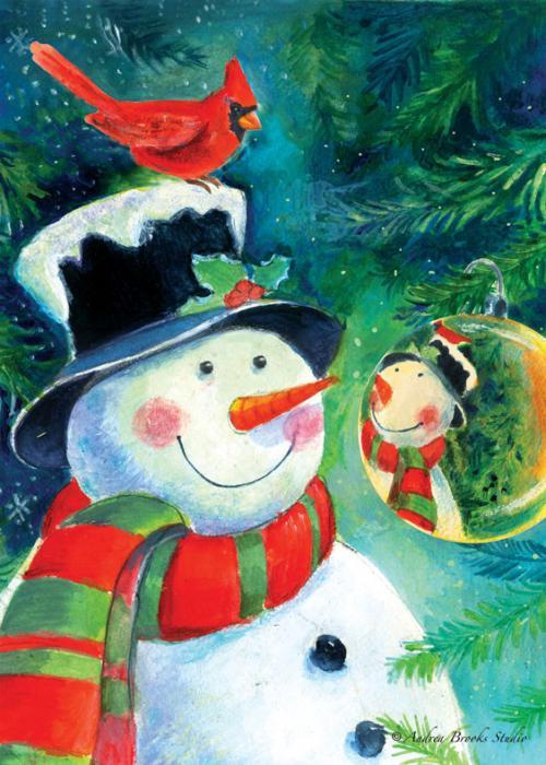 Toland Reflection Snowman Garden Flag