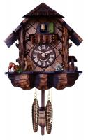 Musical Cuckoo Clock with Hand-carved Case and Feeding Deer - 10 Inches Tall