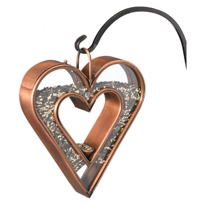 Good Directions Fly-Thru Heart Bird Feeder, Venetian Bronze