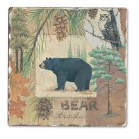 Counter Art Bear Tracks Single Tumbled Tile Coaster
