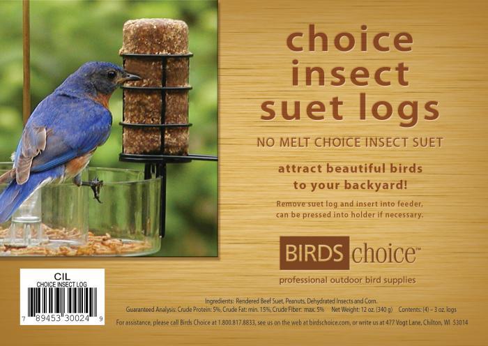Bird's Choice Choice Insect Suet Logs - (4) 3 oz logs