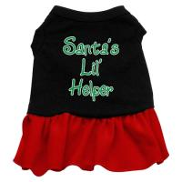 Santa's Lil Helper Dog Dress - Black with Red/Extra Large