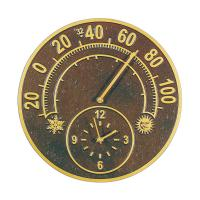 Whitehall Solstice Thermometer Clock - French Bronze