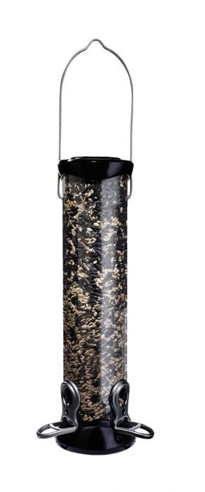 "Droll Yankees Onyx 12"" 2 Port Sunflower/Mixed Seed Tube Bird Feeder w/ Removable Base"