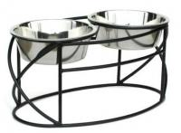 Oval Cross Double Raised Feeder - Small/Silver