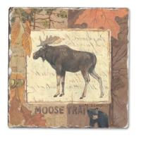 Counter Art Moose Tracks Single Tumbled Tile Coaster