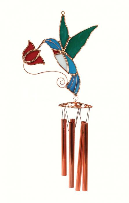 Gift Essentials Hummingbird with Red Flower Wind Chime