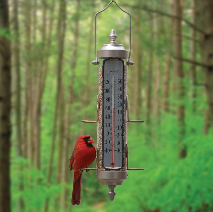 Conant Custom Brass Tube Bird Feeder w/ Thermometer, Satin Nickel