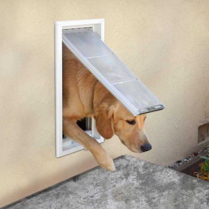 """Endura Flap Pet Door, Wall Mount, Large Single flap - 10w"""" x 19h"""", White Frame"""