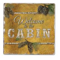 Counter Art Welcome to the Cabin Single Tumbled Tile Coaster