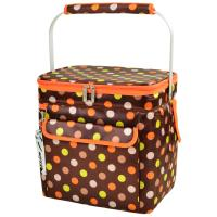Picnic at Ascot 6 Bottle Insulated Wine Tote- Collapsible Multi Purpose Cooler - Julia Dot
