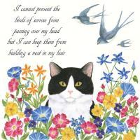 Alice's Cottage Cat & Swallows Single Flour Sack Towel