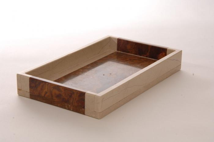 Imperial Bath Desert Sand and Amber Marble Bath Tray