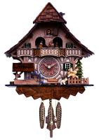 "One Day Musical Black Forest Cuckoo Clock w/Dancers, Waterwheel, & Girl on Rocking Horse - 13"" Tall"