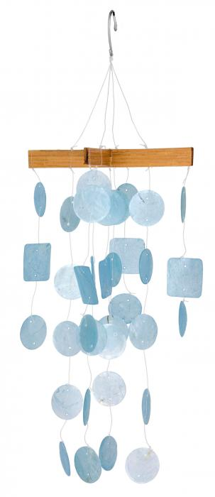 Woodstock Chimes Mini Capiz Chime - Light Blue