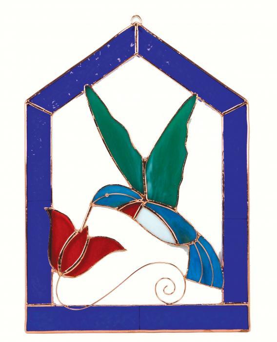 Gift Essentials Small Hummingbird Blue Steeple Frame Window Panel