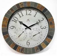 Infinity The Inca Mosaic Wall Clock with Thermometer and Hygrometer