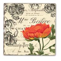 Counter Art Vintage Floral Single Tumbled Tile Coaster