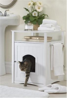 Cat Washroom and Night Stand - Espresso