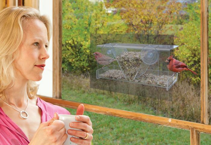 Songbird Essentials Clear View Hopper Mirrored Window Bird Feeder