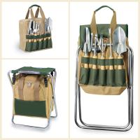 Picnic Time Gardener Folding Seat with Polyester Tote and 5 Piece Garden Tools