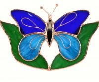 Gift Essentials Dark & Light Blue Butterfly w/Leaves Sun Catcher