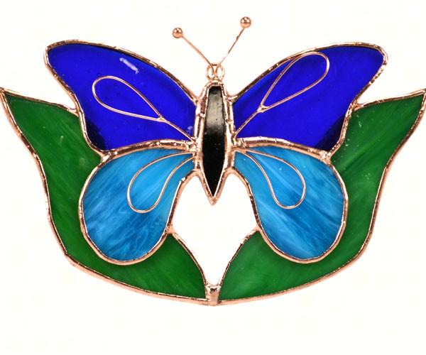 Gift Essentials Dark & Light Blue Butterfly w/Leaves Sun Catcher