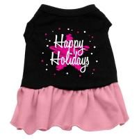 Scribble Happy Holidays Dog Dress - Black with Pink/Medium
