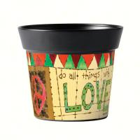 Magnet Works Painted Peace With Love 6 inch Art Pot