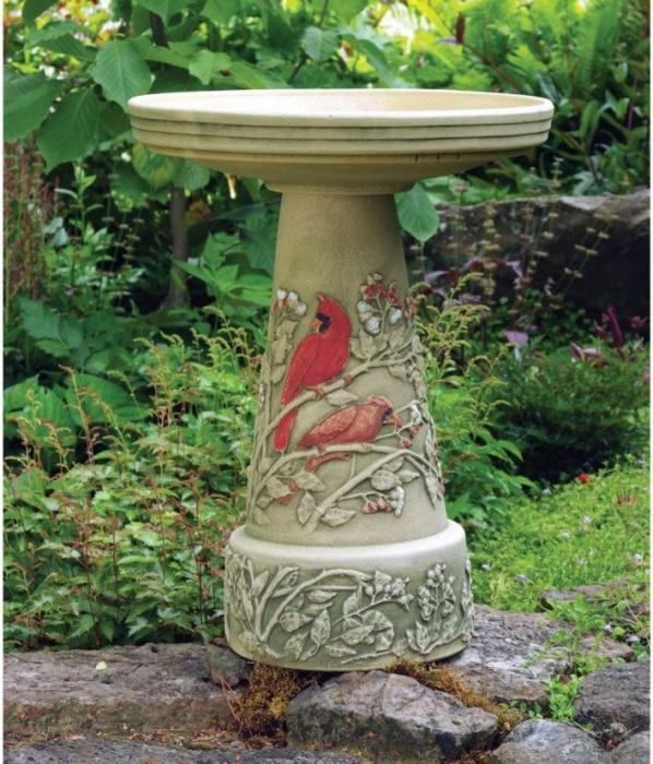 Bird's Choice Burley Clay Summer Cardinal Bird Bath Set