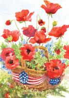 Toland Patriotic Poppies Garden Flag