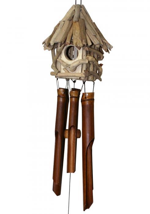 Cohasset Imports Driftwood Birdhouse Bamboo Windchime