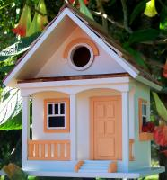Home Bazaar Birds of a Feather Series Peaches N' Cream Cottage Birdhouse