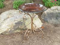 TDI Brands Red Fiber Clay Birdbath with Metal Base