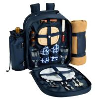 Picnic at Ascot - Deluxe Equipped 2 Person Picnic Backpack with Cooler, Insulated Wine Holder & Blanket - Trellis Blue