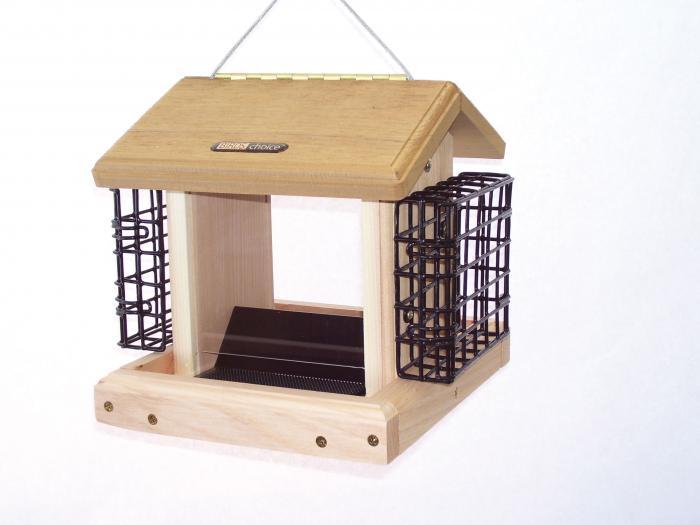Birds Choice 2-1/2 Quart Cedar 2-Sided Bird Feeder with Suet Cages